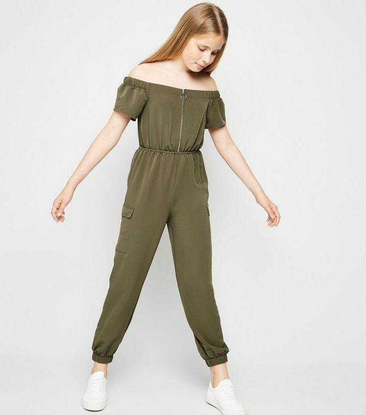 new specials limited sale top brands Girls Khaki Utility Bardot Jumpsuit Add to Saved Items Remove from Saved  Items