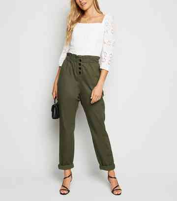 Khaki High Waist Paperbag Trousers