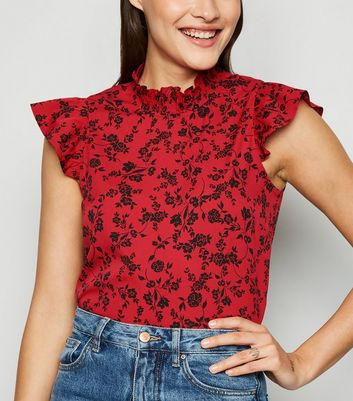Red Floral Shirred Neck Frill Blouse
