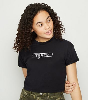"Girls – Schwarzes T-Shirt mit ""Breaking News""-Slogan"