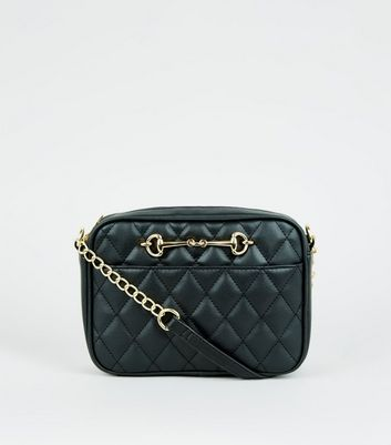 Black Quilted Bar Front Camera Bag