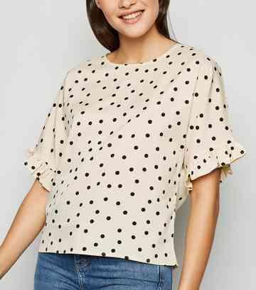 e7d358d07e265d Black Pale Yellow Red. Nude Spot Print Frill T-Shirt ...