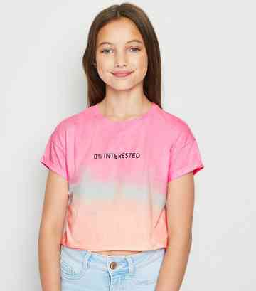 Girls Pink Tie Dye 0% Interested Slogan T-Shirt