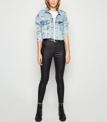 Jegging noir enduit sculptant et push-up