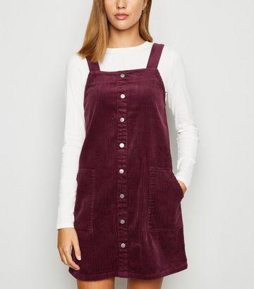 Burgundy Corduroy Button Pinafore Dress