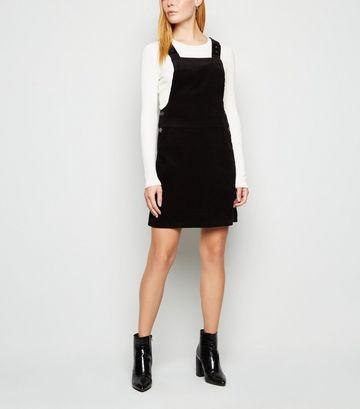 Black Corduroy Dungaree Pinafore Dress