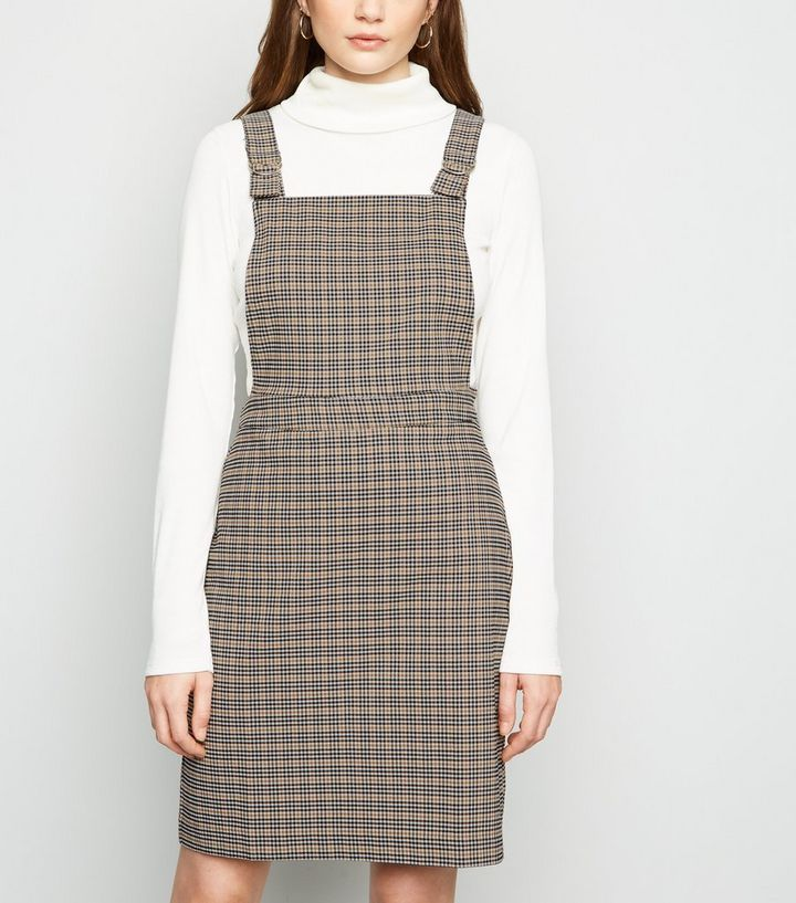 half off recognized brands los angeles Brown Check Slim Stretch Pinafore Dress Add to Saved Items Remove from  Saved Items