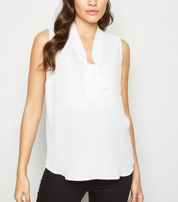Maternity Cream Tie Front Blouse