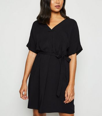 Petite Black Belted Tunic Dress