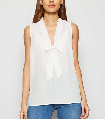 Tall Off White Tie Front Blouse