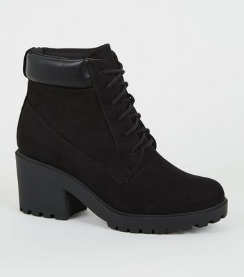 Girls Black Lace Up Chunky Sole Boots