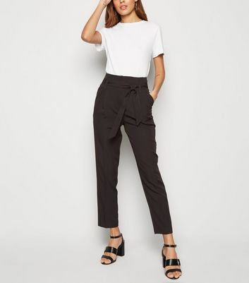 Black Belted Paperbag Trousers