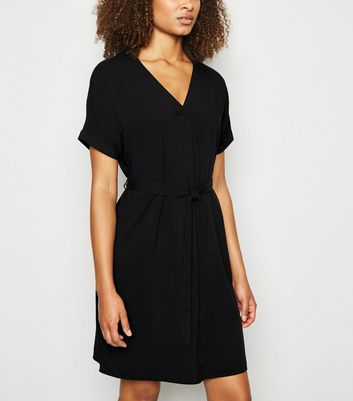 Tall Black Belted Tunic Dress