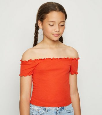Girls Red Ribbed Frill Trim Bardot Top