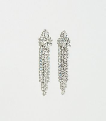 Silver Diamanté Fringe Drop Earrings