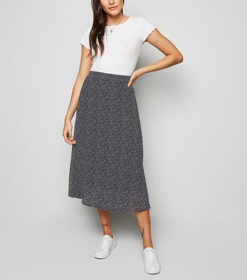 70cd8ff5f2daa2 ... Black Floral Chiffon Midi Skirt ...