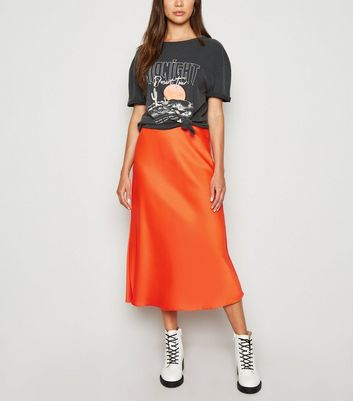 Bright Orange Satin Bias Cut Midi Skirt