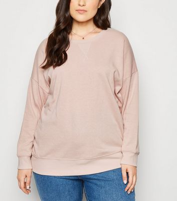 Curves – Sweatshirt in Hellrosa