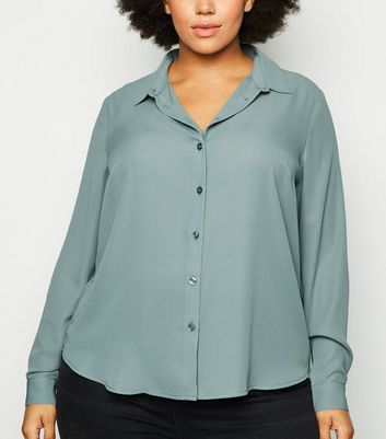 Curves Light Green Long Sleeve Shirt