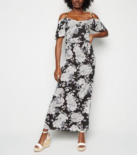 55496747a5d ... Cameo Rose Black Floral Cold Shoulder Maxi Dress ...
