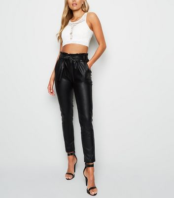 Cameo Rose Black Leather-Look Paperbag Trousers