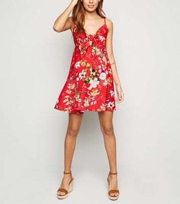 Cameo Rose Red Tropical Tie Front Dress