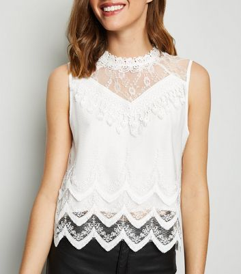 Cameo Rose Cream Lace Mesh Blouse