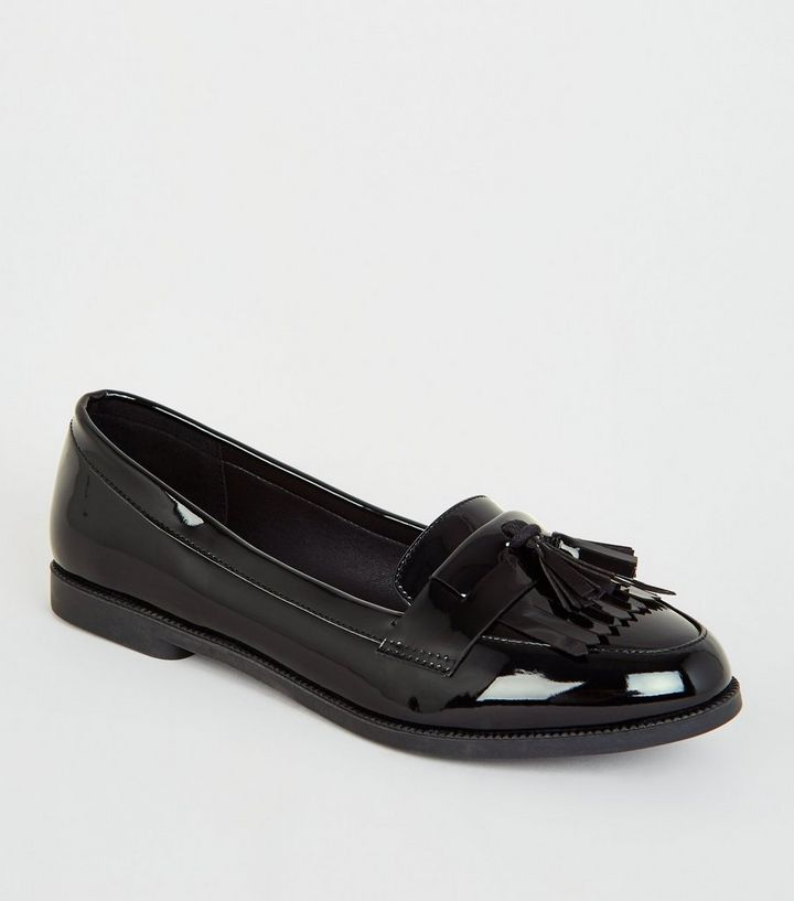 luxury fashion amazon temperament shoes Wide Fit Black Patent Tassel Fringe Loafers Add to Saved Items Remove from  Saved Items
