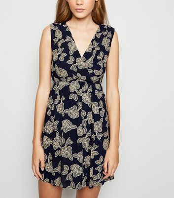 Mela Blue Floral Wrap Skater Dress