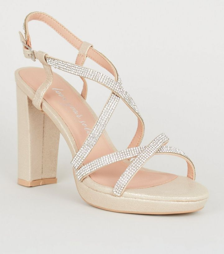 6bb3e6c5126 Wide Fit Gold Diamanté Strappy Platform Heels Add to Saved Items Remove  from Saved Items