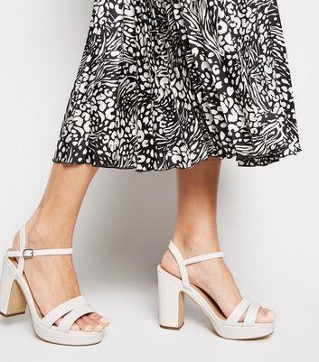 Wide Fit White Platform Block Heels