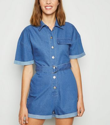 Cameo Rose Bright Blue Denim Utility Playsuit