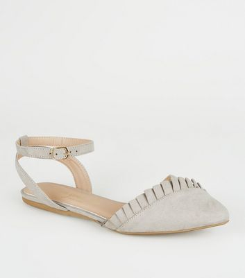 Wide Fit Grey Pointed Frill 2 Part Flats by New Look