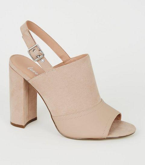 9b766af210ba Chaussures à talons, bouts ouverts et bride arrière en suédine nude ...