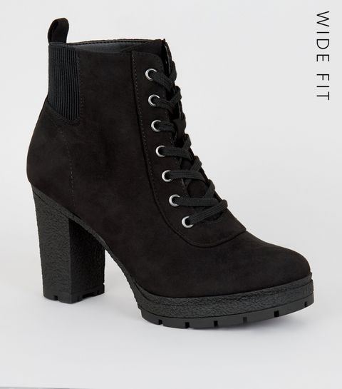 e46db7a1798 ... Wide Fit Black Lace Up Heeled Hiker Boots ...