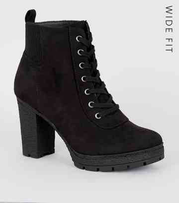 bf78fee117a Wide Fit Black Lace Up Heeled Hiker Boots ...