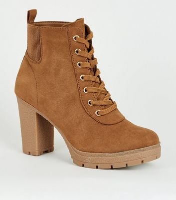 Wide Fit Tan Lace Up Heeled Hiker Boots