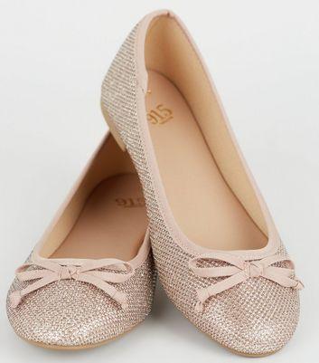 Girls Rose Gold Glitter Ballet Pumps