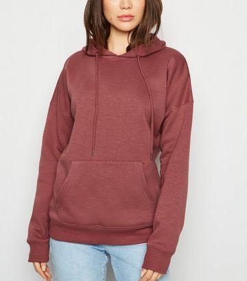 Deep Pink Long Sleeve Jersey Hoodie
