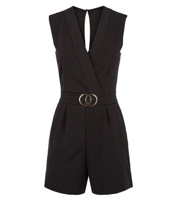 Pink Vanilla Black Belted Wrap Playsuit New Look