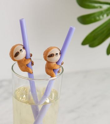 2 Pack Multicoloured Sloth Straws