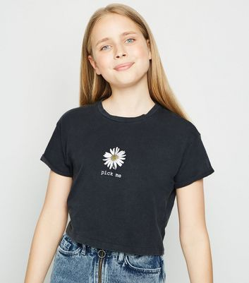 Girls Dark Grey Acid Wash Daisy Slogan T-Shirt