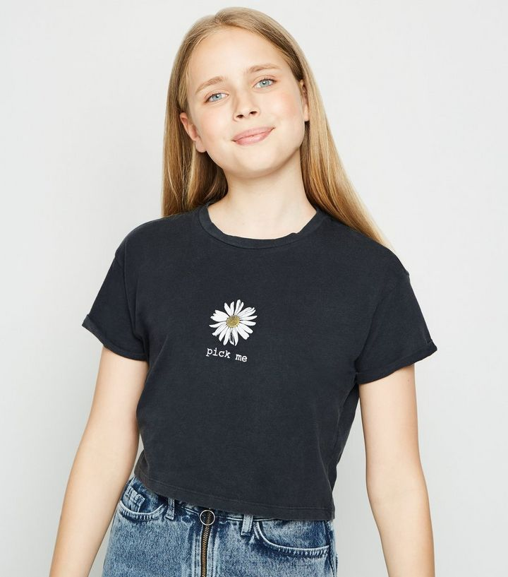 59e9f688 Girls Dark Grey Acid Wash Daisy Slogan T-Shirt | New Look