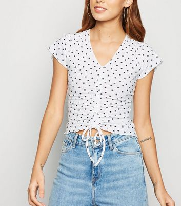 White Ribbed Spot Print Ruched Top
