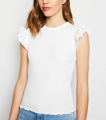 White Frill Sleeve Ribbed T-Shirt