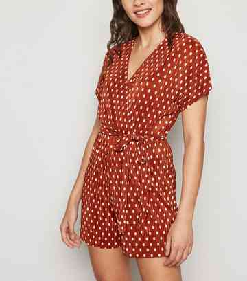Brown Spot Plissé Wrap Playsuit