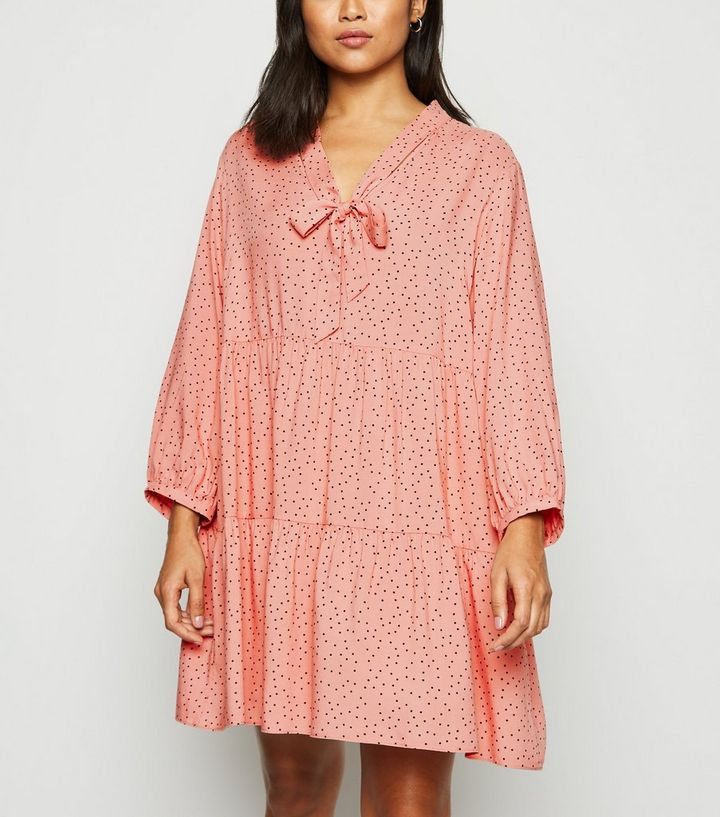 b22198e4f9f6 Petite Pink Spot Tie Neck Smock Dress   New Look