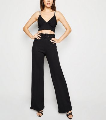 Black Ribbed Belted Wide Leg Trousers