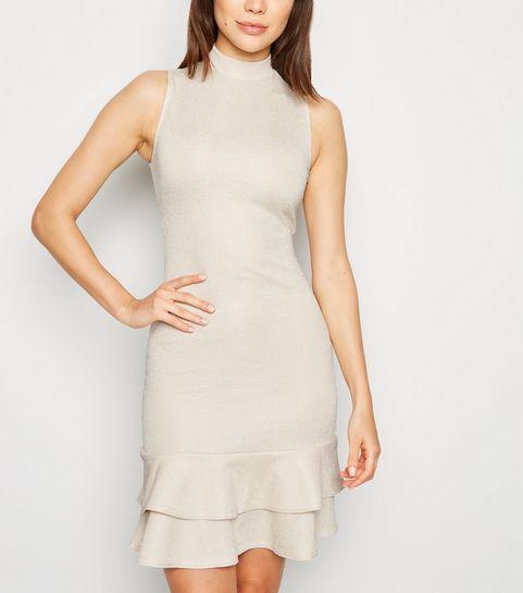 587c131fec2 ... Cream High Neck Frill Hem Dress ...