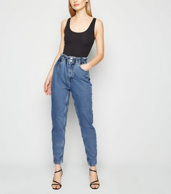 Tall Blue Mid Wash Paperbag Mom Jeans